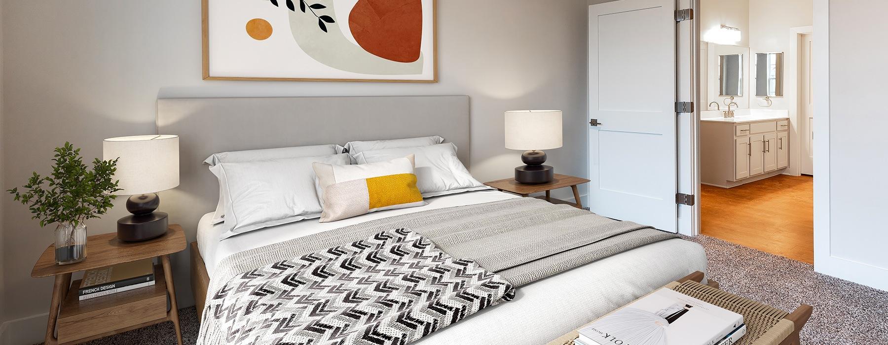 spacious bedroom on wood-style flooring