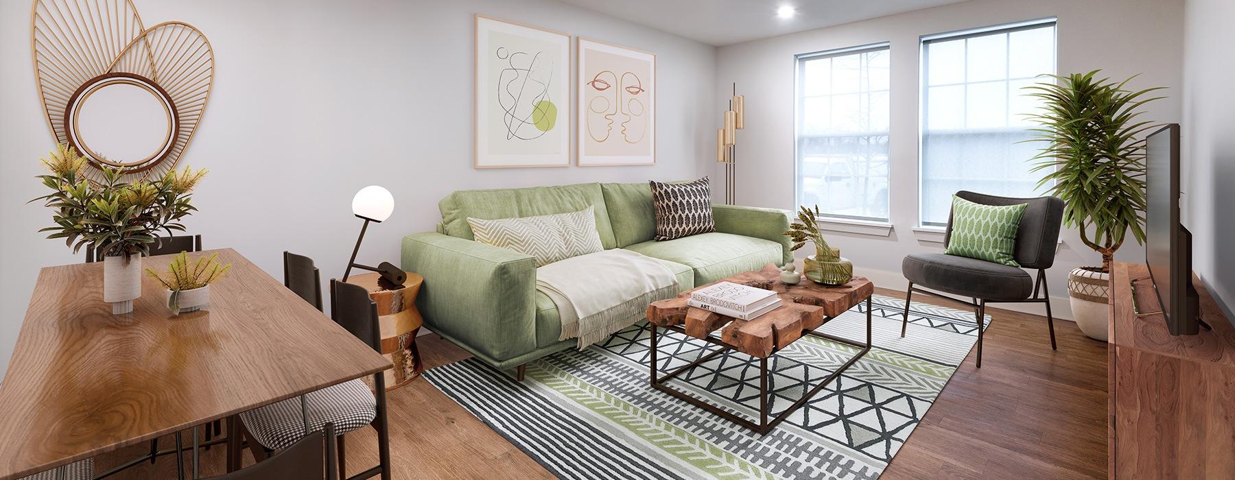 spacious living room on wood-style flooring